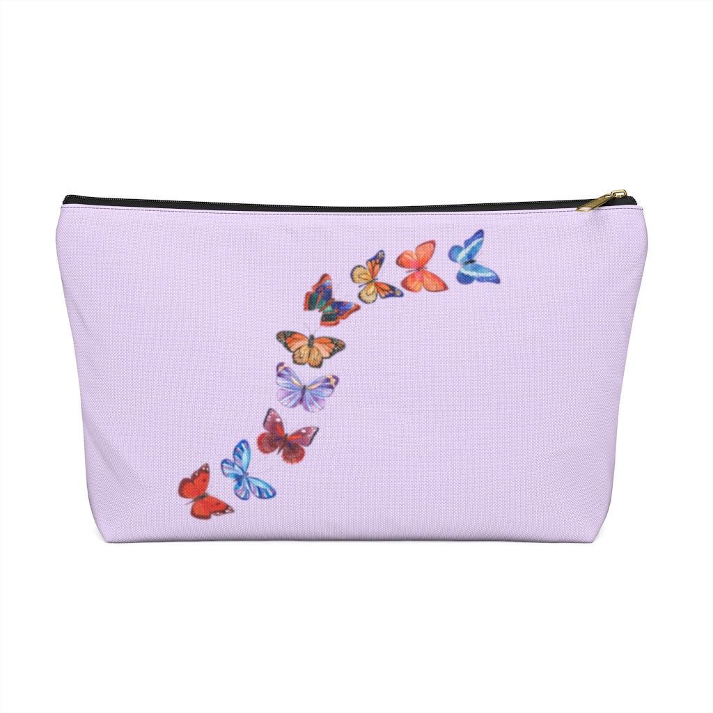 "Butterflies in Flight Large ""Lavender"" T-Bottom Accessory Pouch (Dual-Sided Design)"