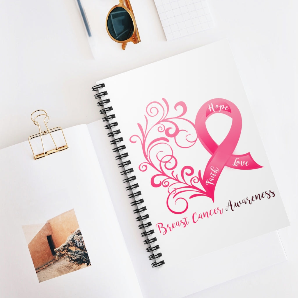 Breast Cancer Awareness Heart White Spiral Journal - Ruled Line