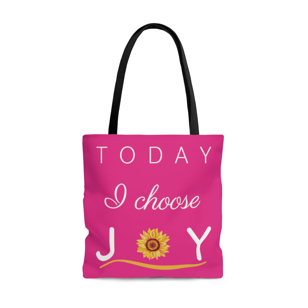 """Today I Choose Joy"" Large Raspberry Tote Bag"