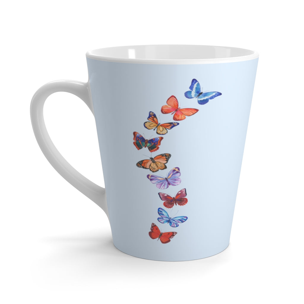 Butterflies in Flight Light Blue Latte Mug (12 oz.)