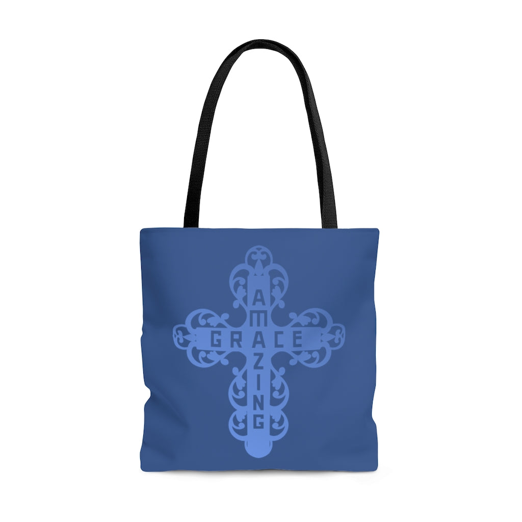 Amazing Grace Filigree Cross Large Blue Tote Bag (Dual Sided Design)