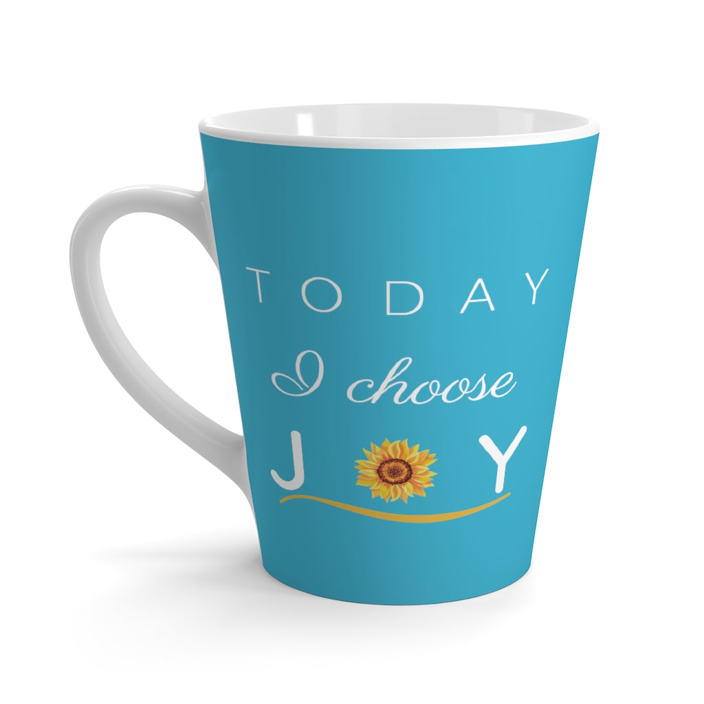 """Today I Choose Joy"" Aqua Latte Mug (12 oz.)"
