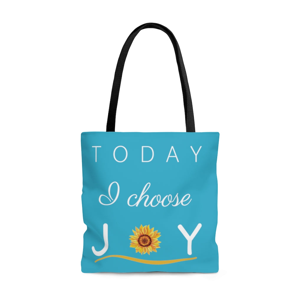 """Today I Choose Joy"" Large Aqua Tote Bag (Dual-Sided Design)"