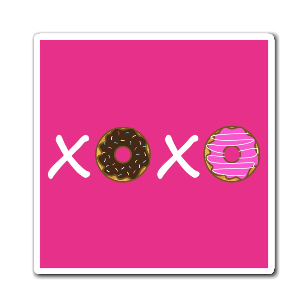 XOXO Donuts Magnet (Raspberry Background) (3 Sizes Available)