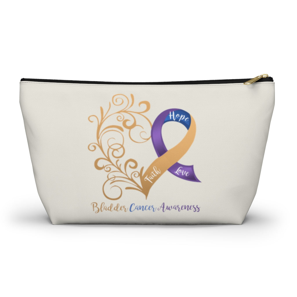 "Bladder Cancer Awareness Large ""Natural"" T-Bottom Accessory Pouch (Dual-Sided Design)"