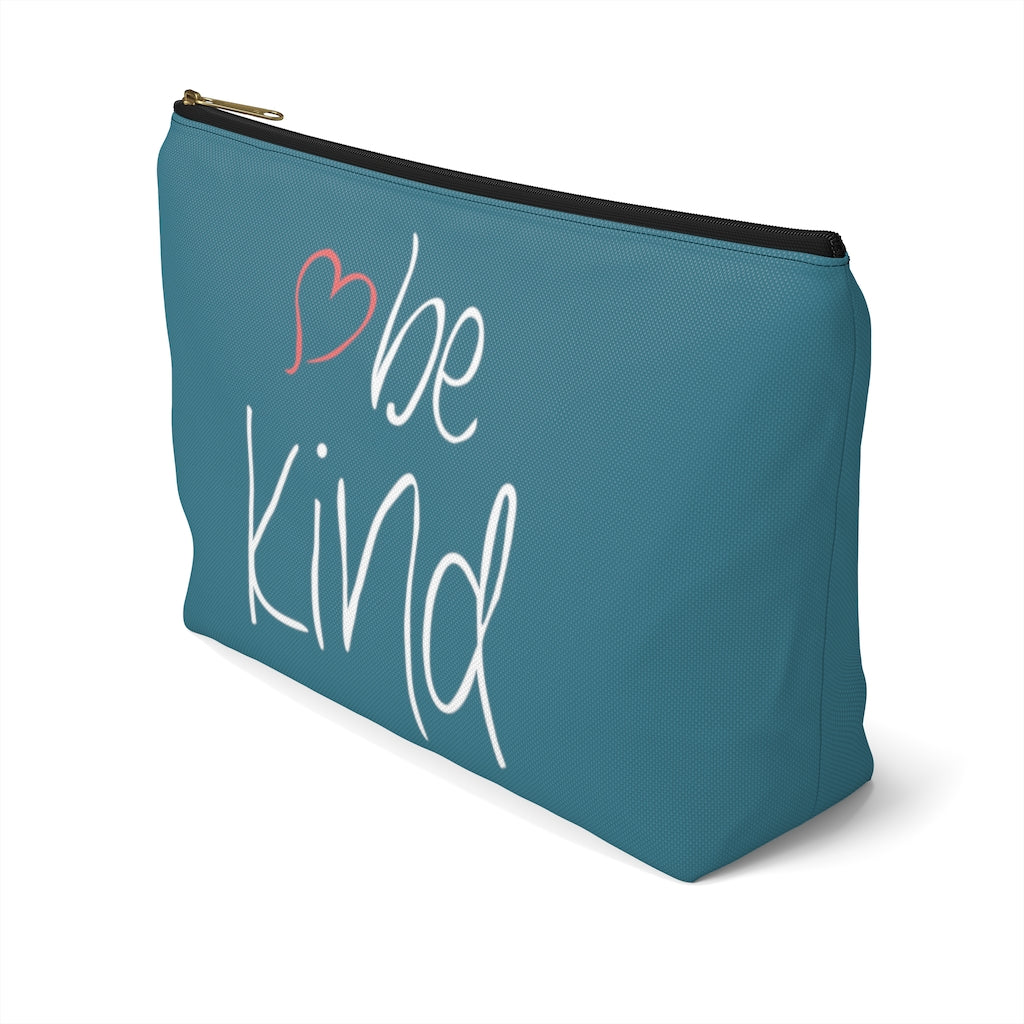 "be kind Heart Large ""Teal"" T-Bottom Accessory Pouch (Dual-Sided Design)"