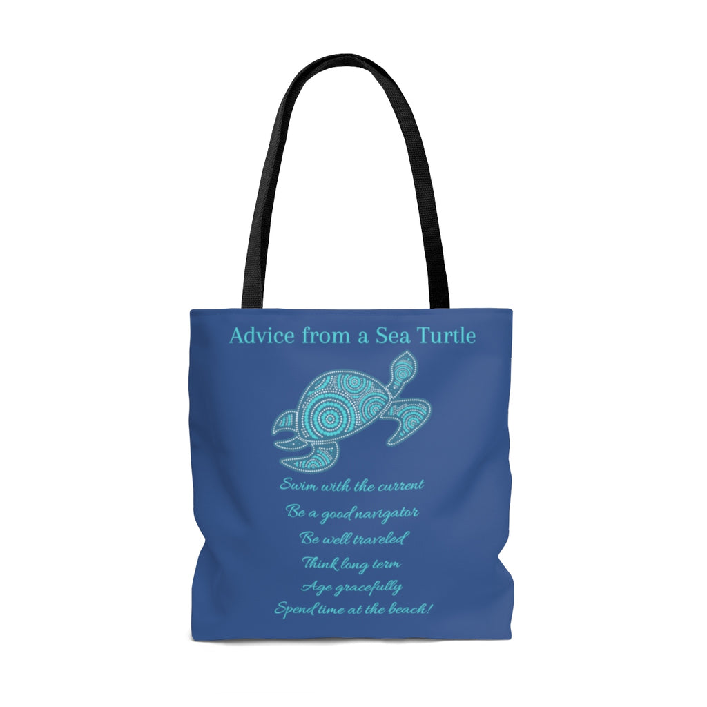 """Advice From a Sea Turtle"" Large Dark Blue Tote Bag (Dual-Sided Design)"