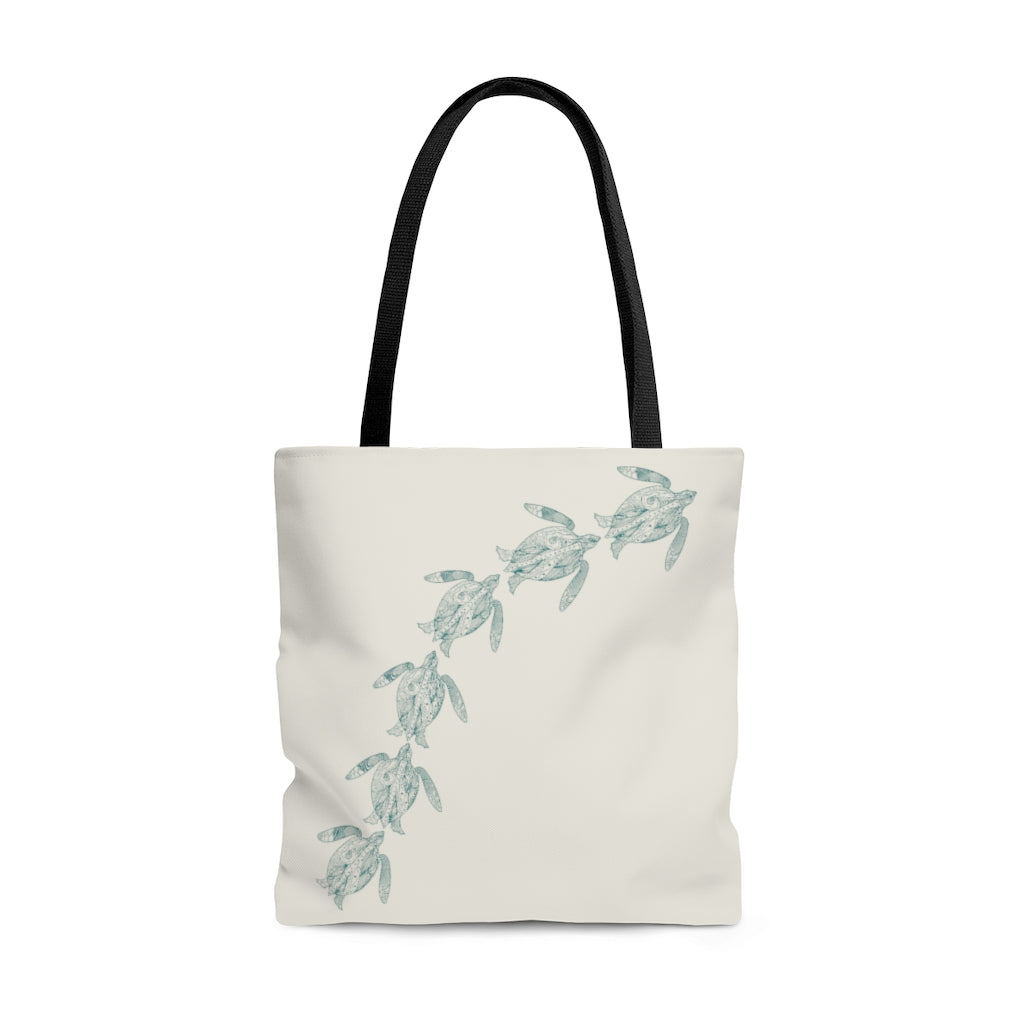 "Swimming Sea Turtles Large ""Natural"" Tote Bag (Dual-Sided Design)"