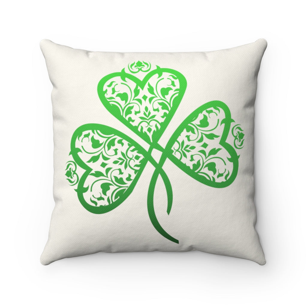 "St. Patrick's Day Filigree Shamrock ""Natural"" Square Pillow (20 X 20)"