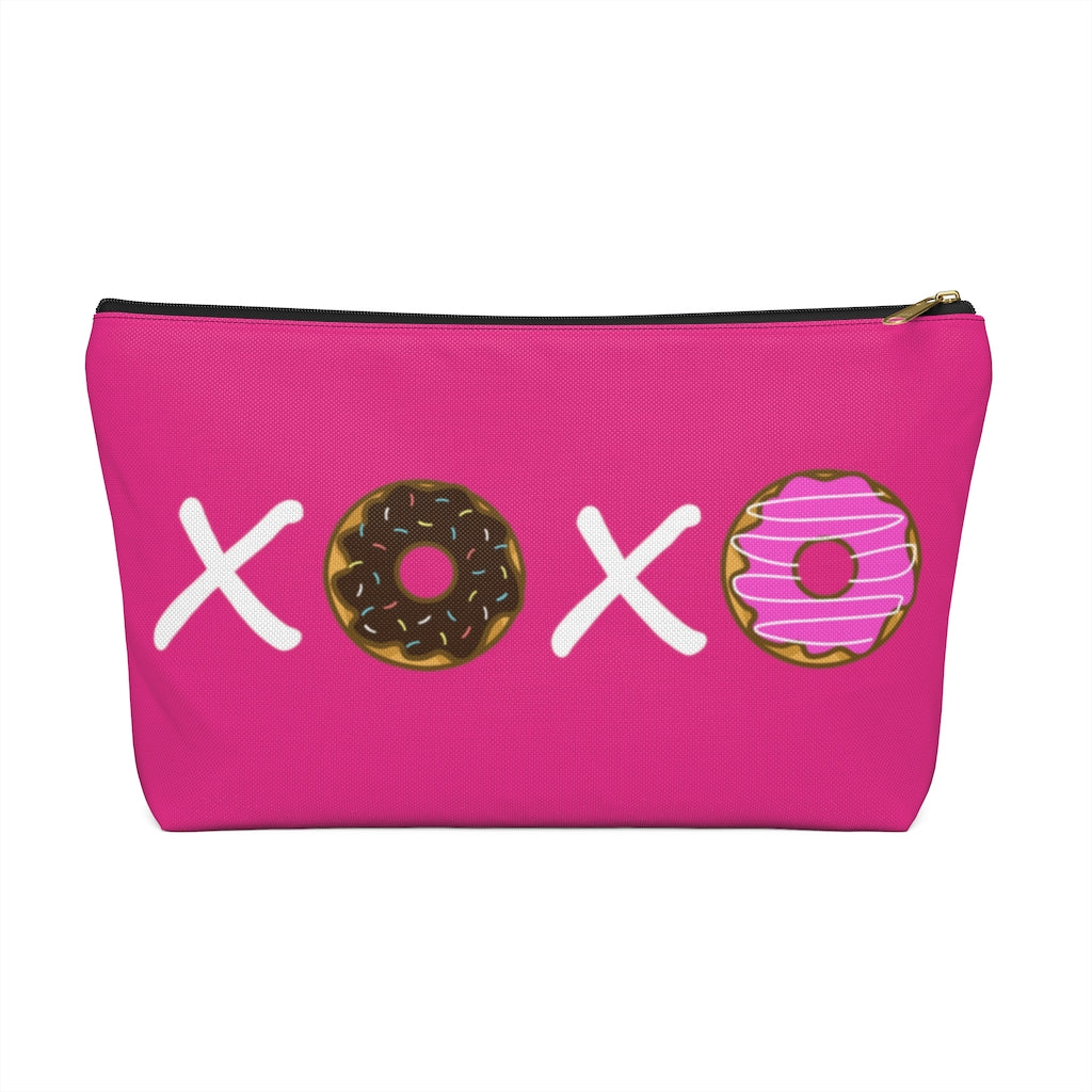 XOXO Donuts Large Raspberry T-Bottom Accessory Pouch (Dual-Sided Design)