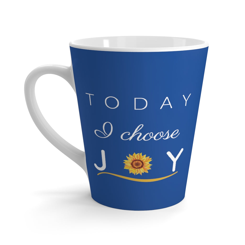 """Today I Choose Joy"" Navy Latte Mug (12 oz.)"