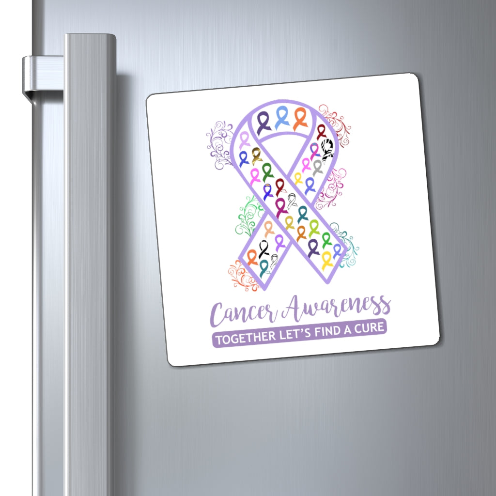 All Cancer Awareness Ribbon Magnet (White Background) (3 Sizes Available)