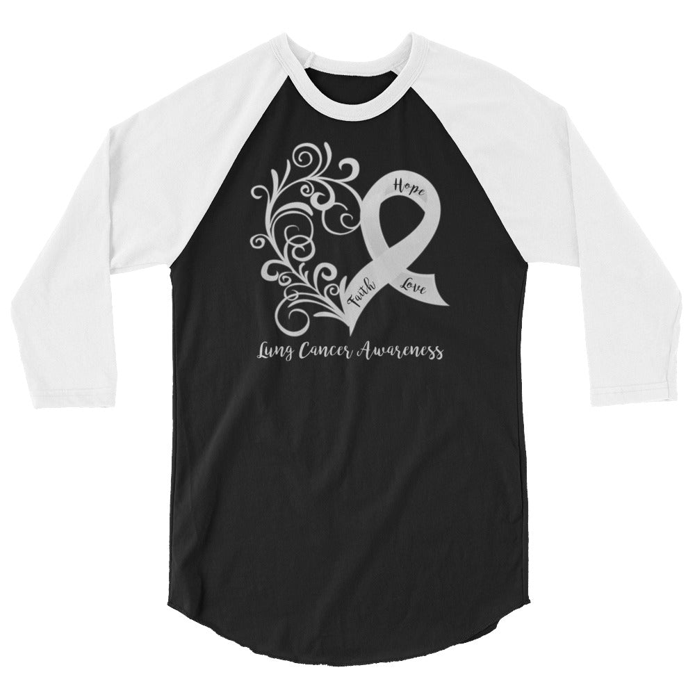 Lung Cancer Awareness 3/4 Sleeve Raglan/Baseball Shirt