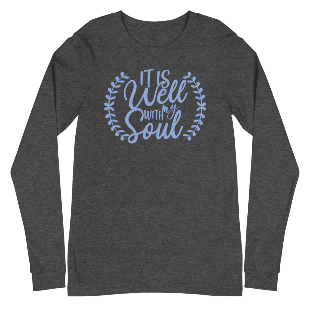 It Is Well With My Soul Laurel Long Sleeve Tee - Dark Colors