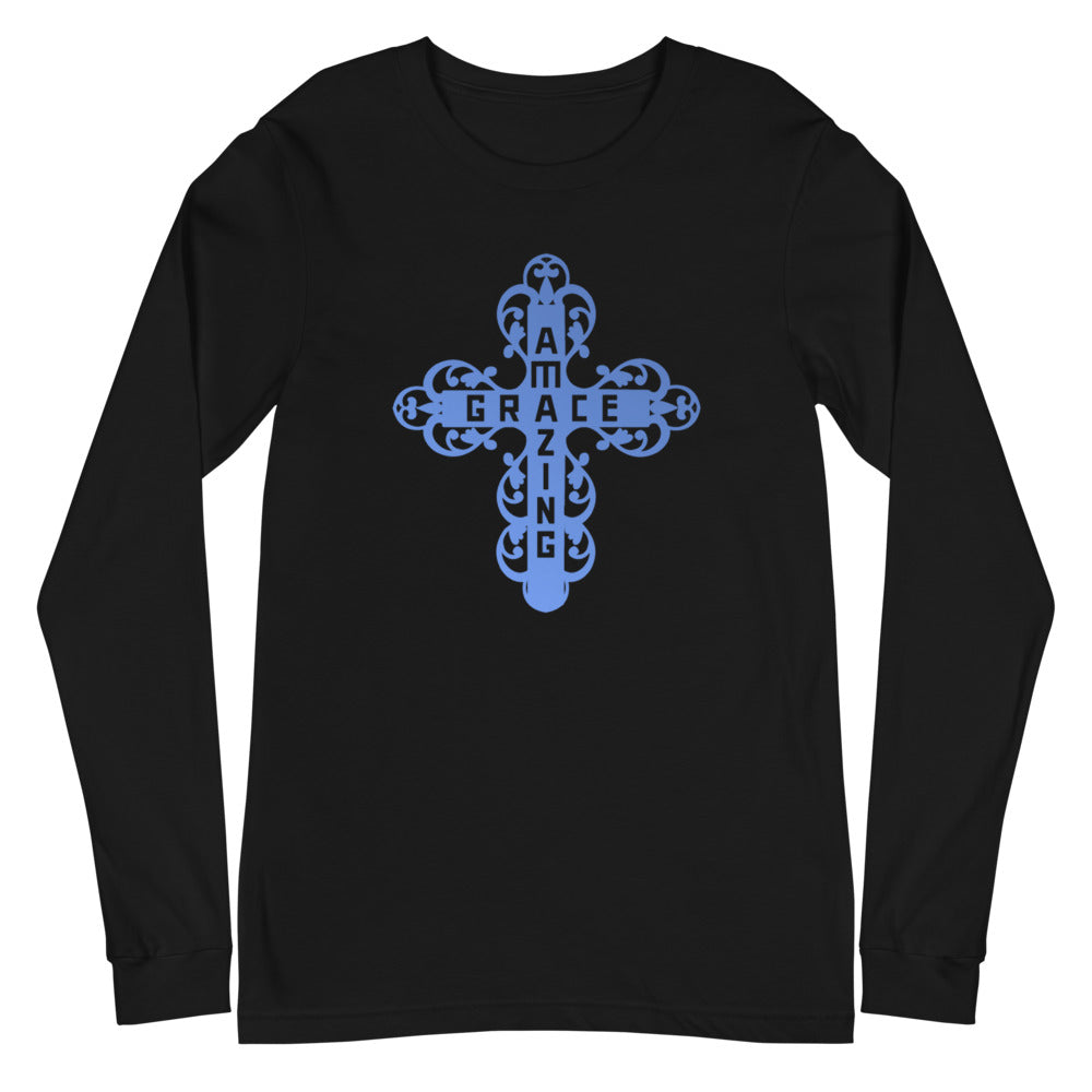 Amazing Grace Filigree Cross Long Sleeve Tee - Dark Colors