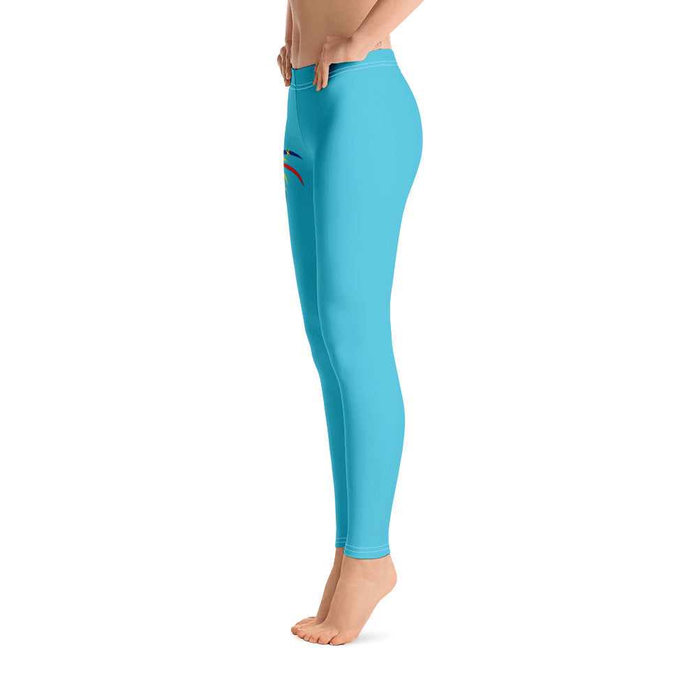 4th of July Fireworks Full Length Leggings (Aqua)