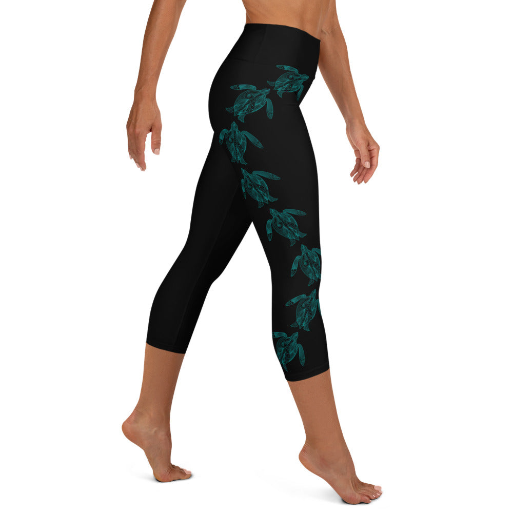 Teal Swimming Sea Turtles Yoga Capri Leggings (Black)
