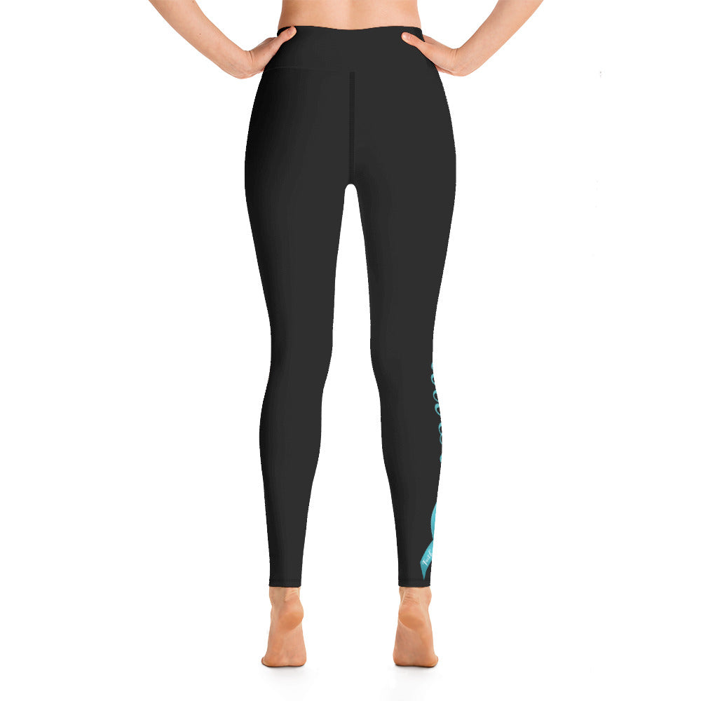 "Ovarian Cancer ""Survivor"" Yoga Full Length Leggings (Black)"