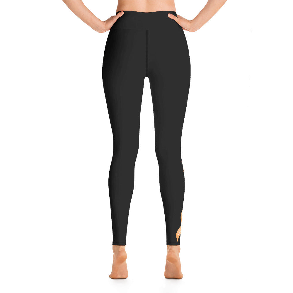 "Endometrial Cancer ""Survivor"" Yoga Full Length Leggings (Black)"