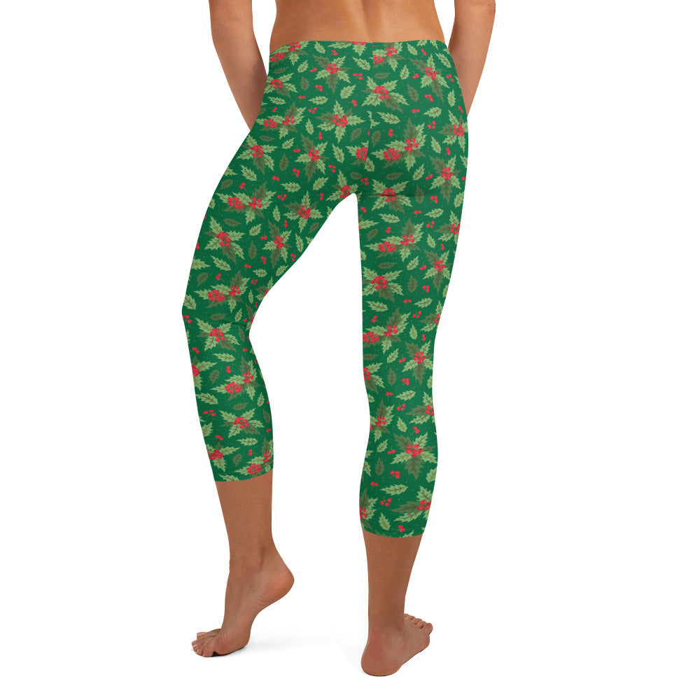 Christmas Holly Capri Leggings (Kelly Green)