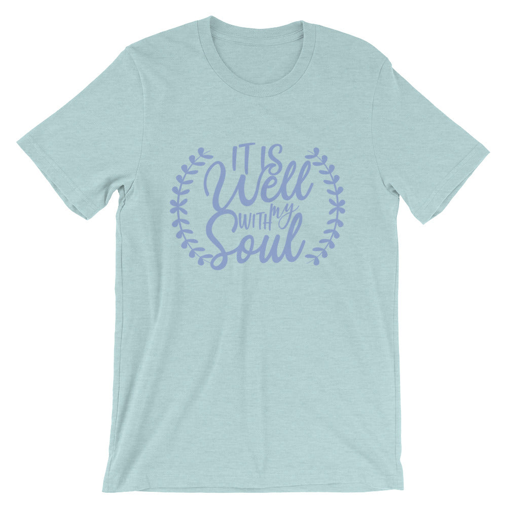 It Is Well With My Soul Blue Laurel Cotton T-Shirt