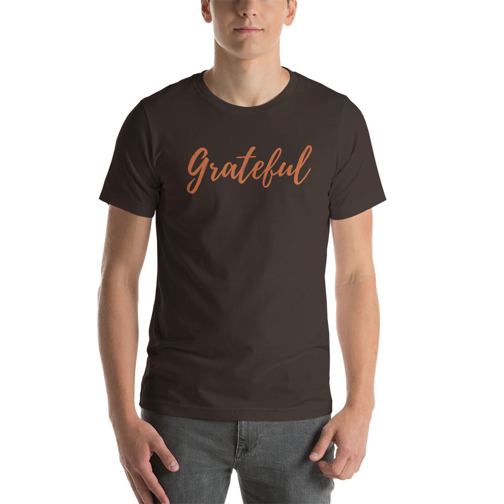 Grateful Script T-Shirt (Autumn Orange Font)