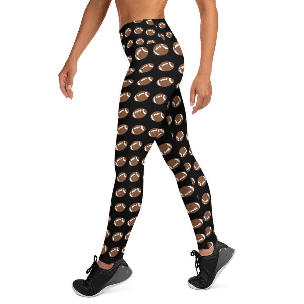 Football Yoga Full Length Leggings (Black)