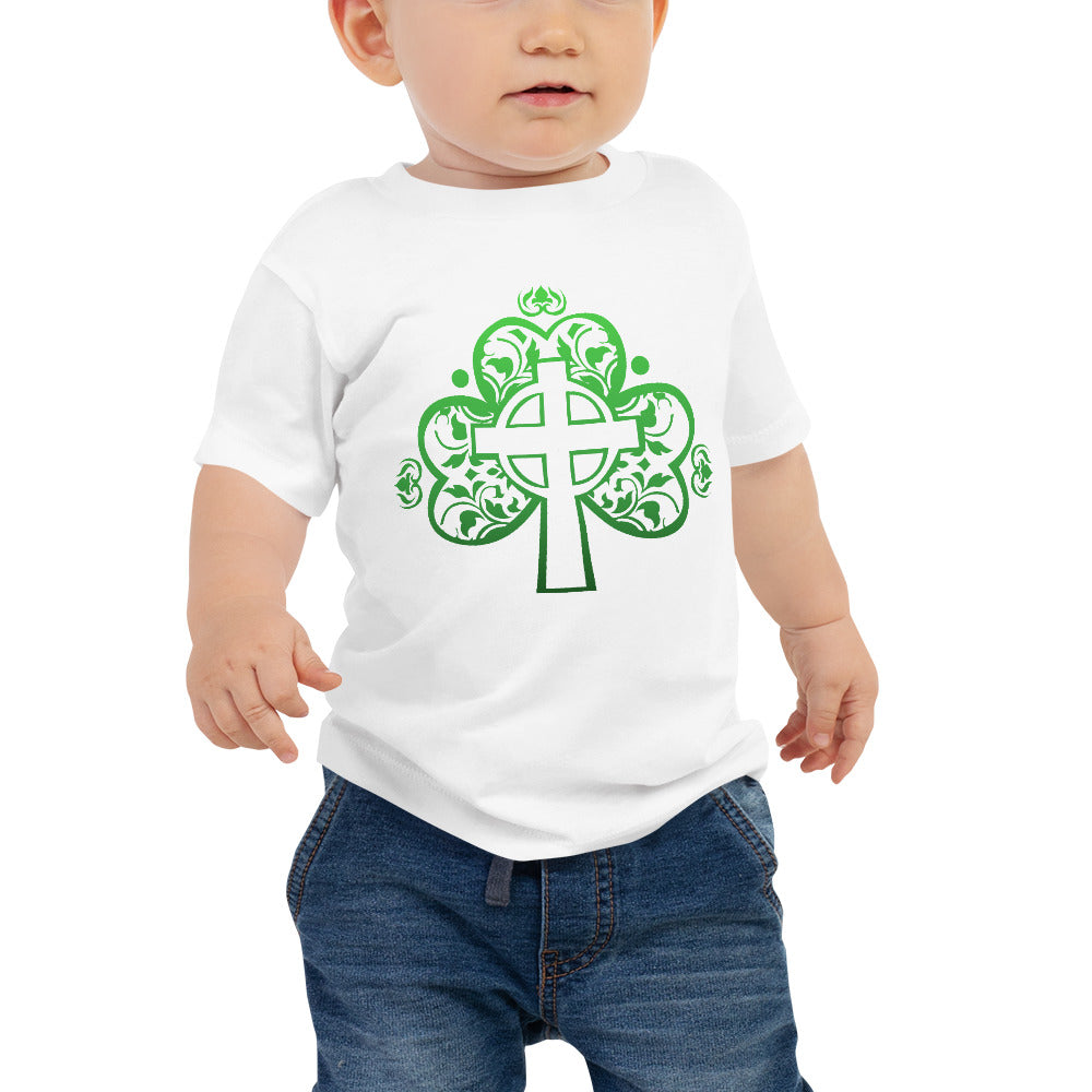St. Patrick's Day Filigree Shamrock Cross Baby Jersey Short Sleeve Tee
