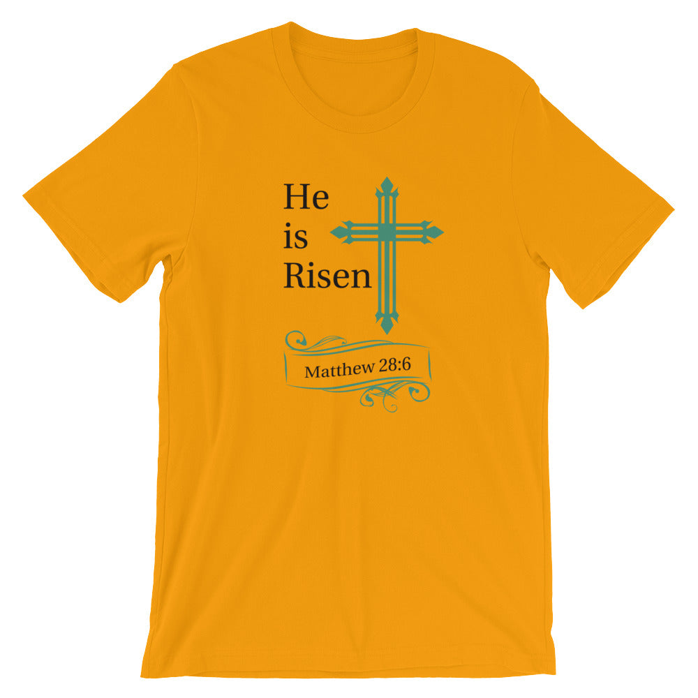 He Is Risen Green Cross Matthew 28:6 Cotton T-Shirt - Spring Colors