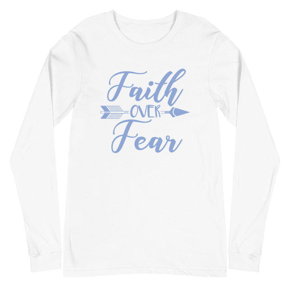 Faith Over Fear Arrow Long Sleeve Tee - Light Colors