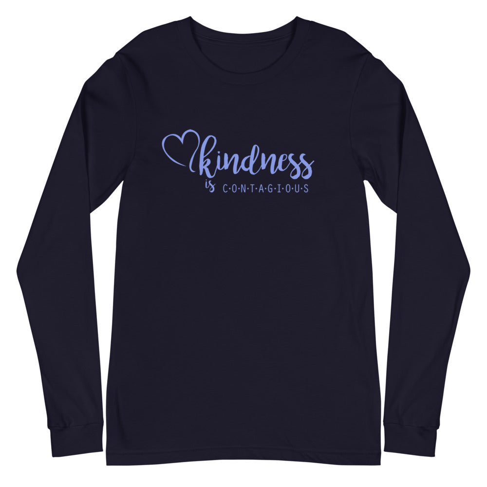 Kindness is Contagious Blue Font Long Sleeve Tee