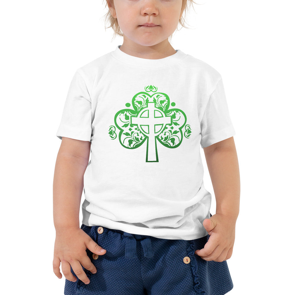 St. Patrick's Day Filigree Shamrock Cross Toddler Short Sleeve Tee