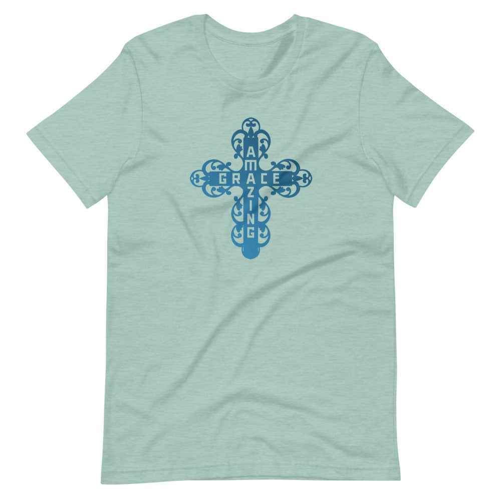 Amazing Grace Filigree Cross T-Shirt - Light Blue Colors