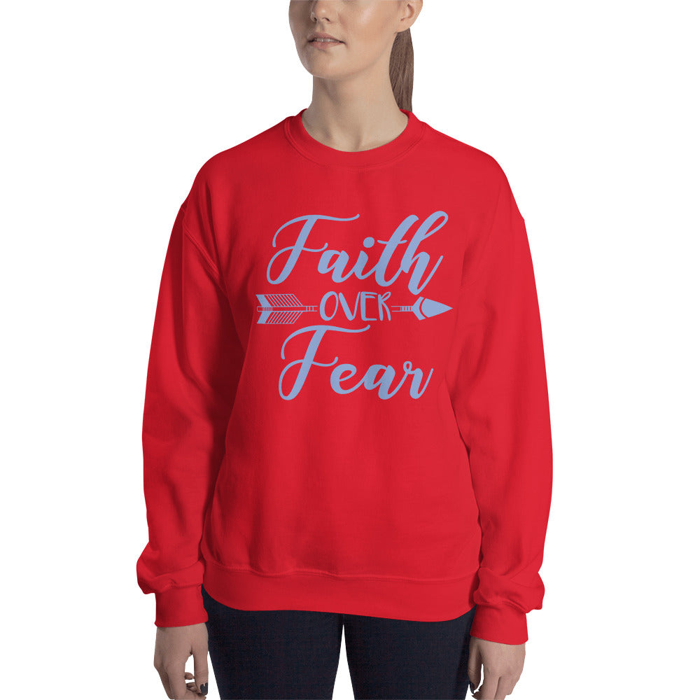 Blue Faith Over Fear Arrow Sweatshirt