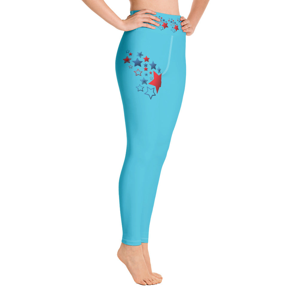4th of July Stars Yoga Full Length Leggings (Aqua)