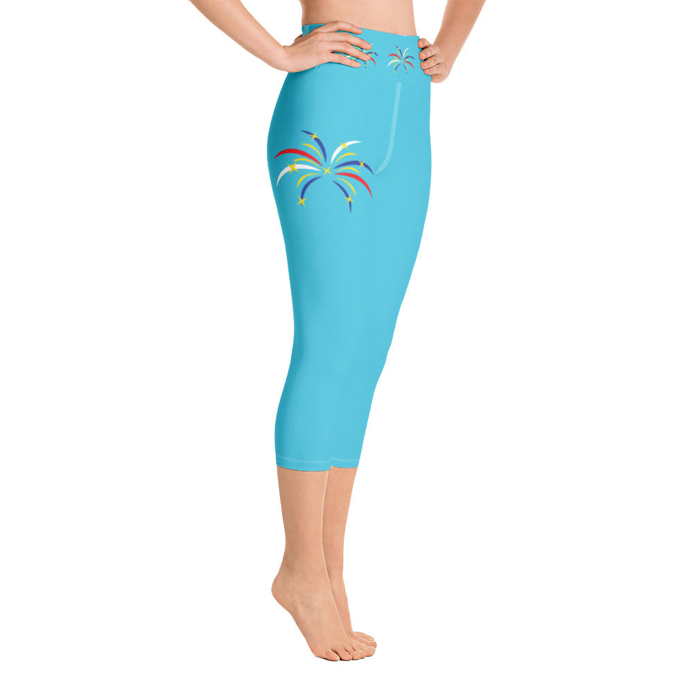 4th of July Fireworks Yoga Capri Leggings (Aqua)