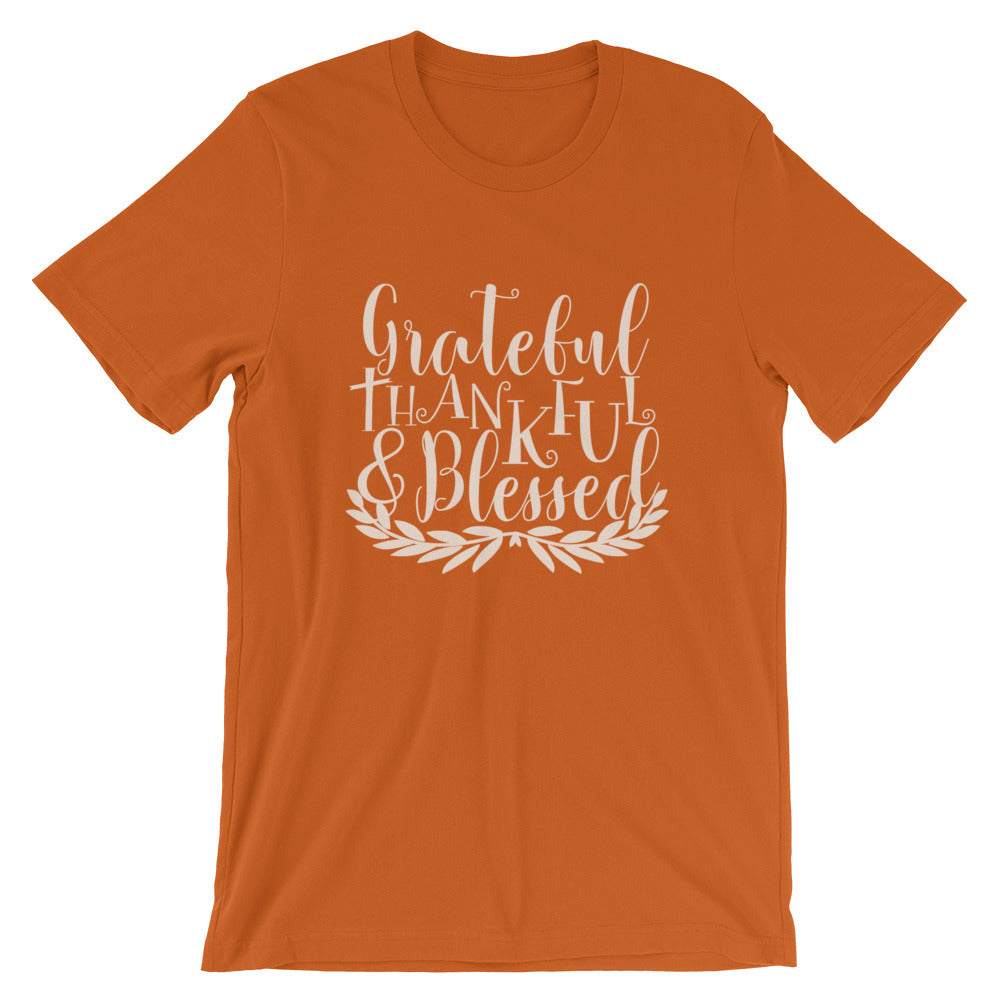 Grateful Thankful Blessed Laurel T-Shirt -  Autumn Colors