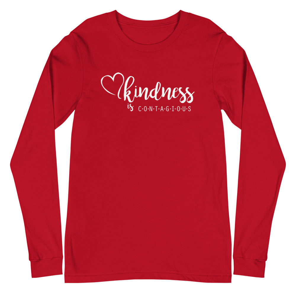 Kindness is CONTAGIOUS White Font Long Sleeve Tee
