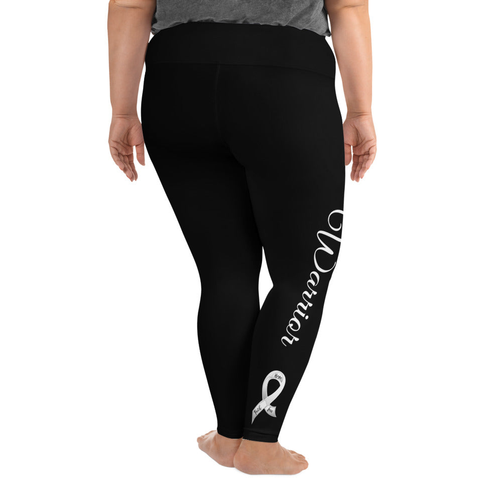 "Lung Cancer ""Warrior"" Plus Size Leggings (Black)"