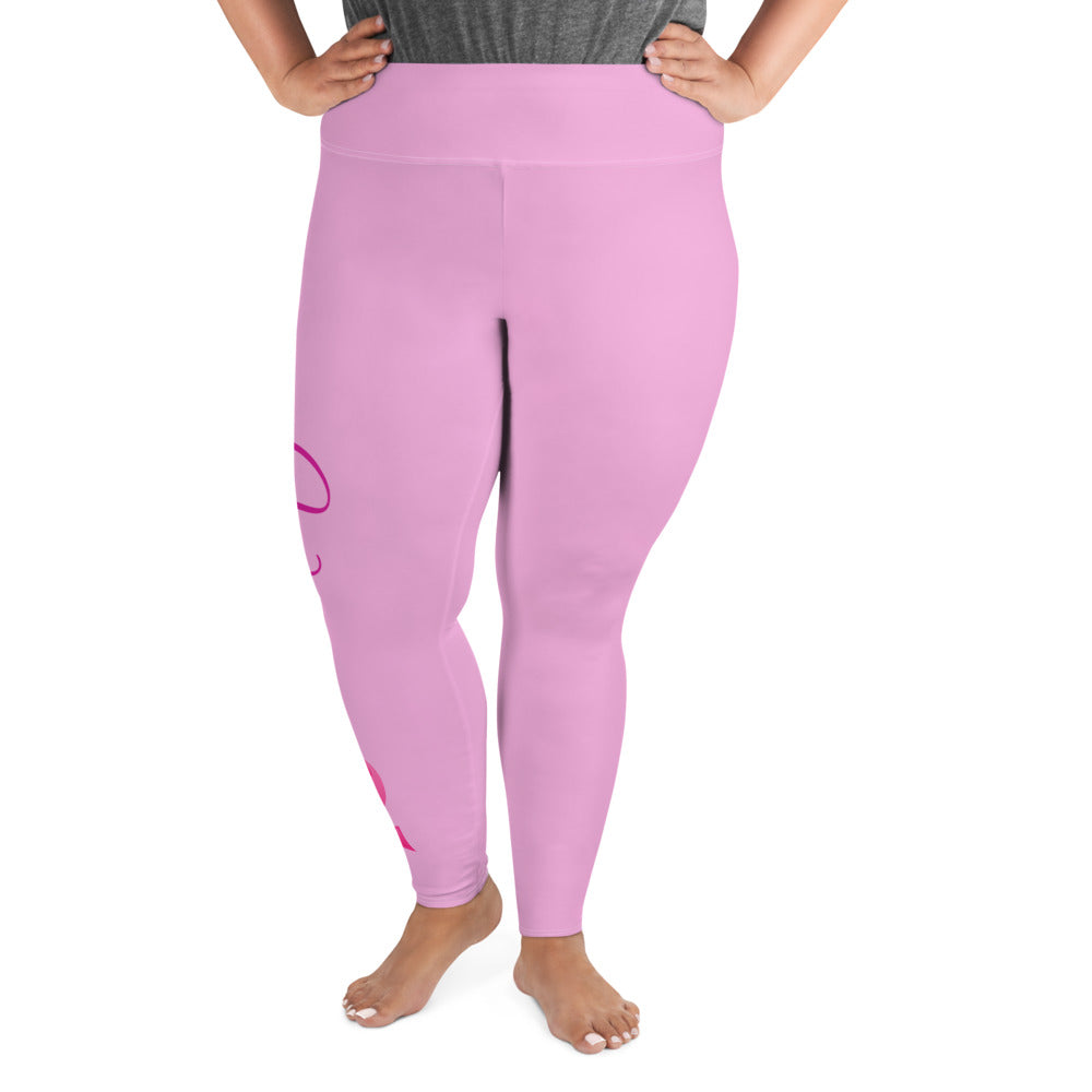 "Breast Cancer ""Warrior"" Plus Size Leggings (Pink)"