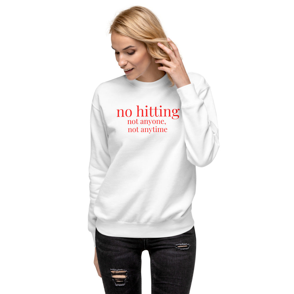 no hitting Red Font Fleece Pullover