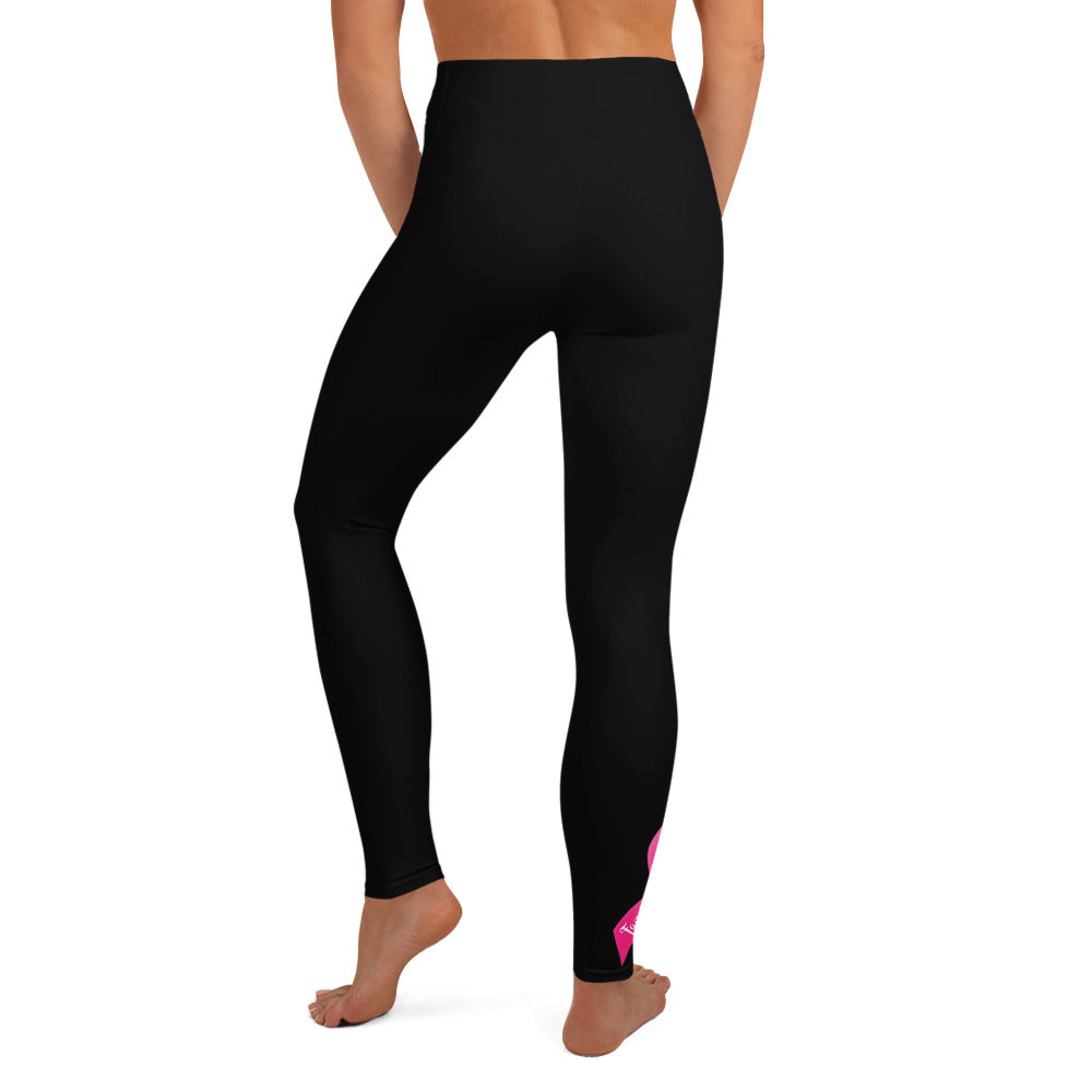 "Breast Cancer ""Warrior"" Yoga Full Length Leggings (Black)"