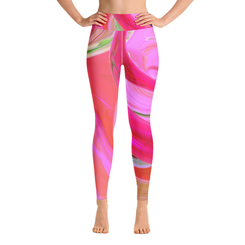 Pink Swirl Yoga Full Length Leggings