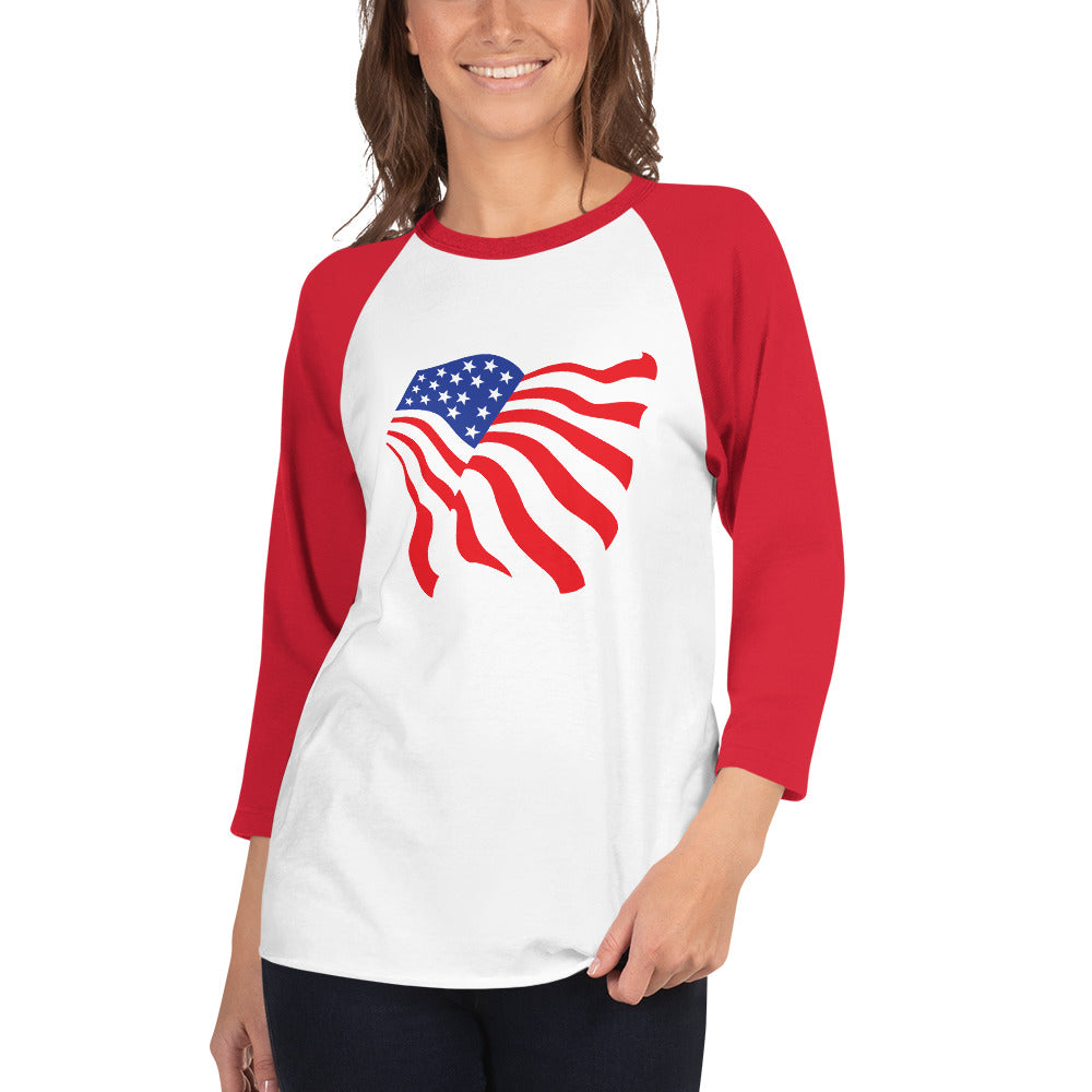 American Flag 3/4 Sleeve Raglan/Baseball Tee (White/Red)