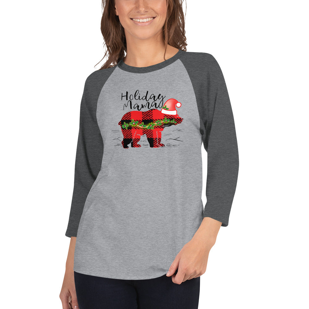 Holiday Mama Bear 3/4 Sleeve Raglan/Baseball Tee