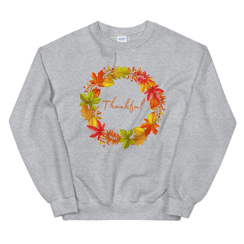 Thankful Autumn Leaf Wreath Sweatshirt