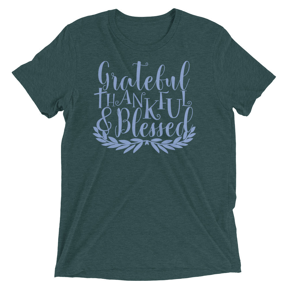 Grateful Thankful & Blessed Laurel Tri-Blend T-Shirt