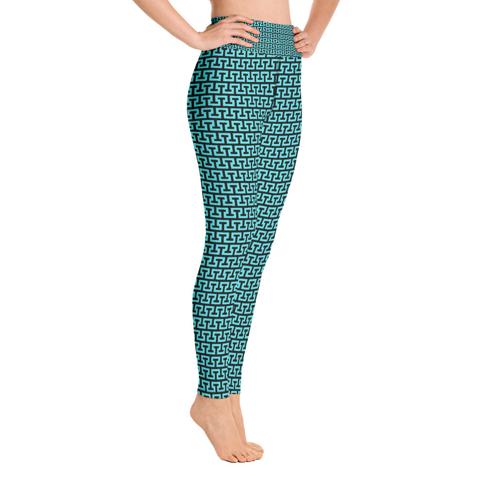 Aqua Abstract Architectural Design Yoga Full Length Leggings