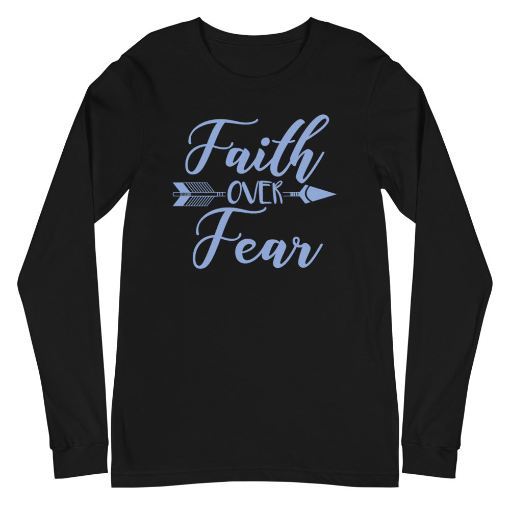 Faith Over Fear Arrow Long Sleeve Tee - Dark Colors