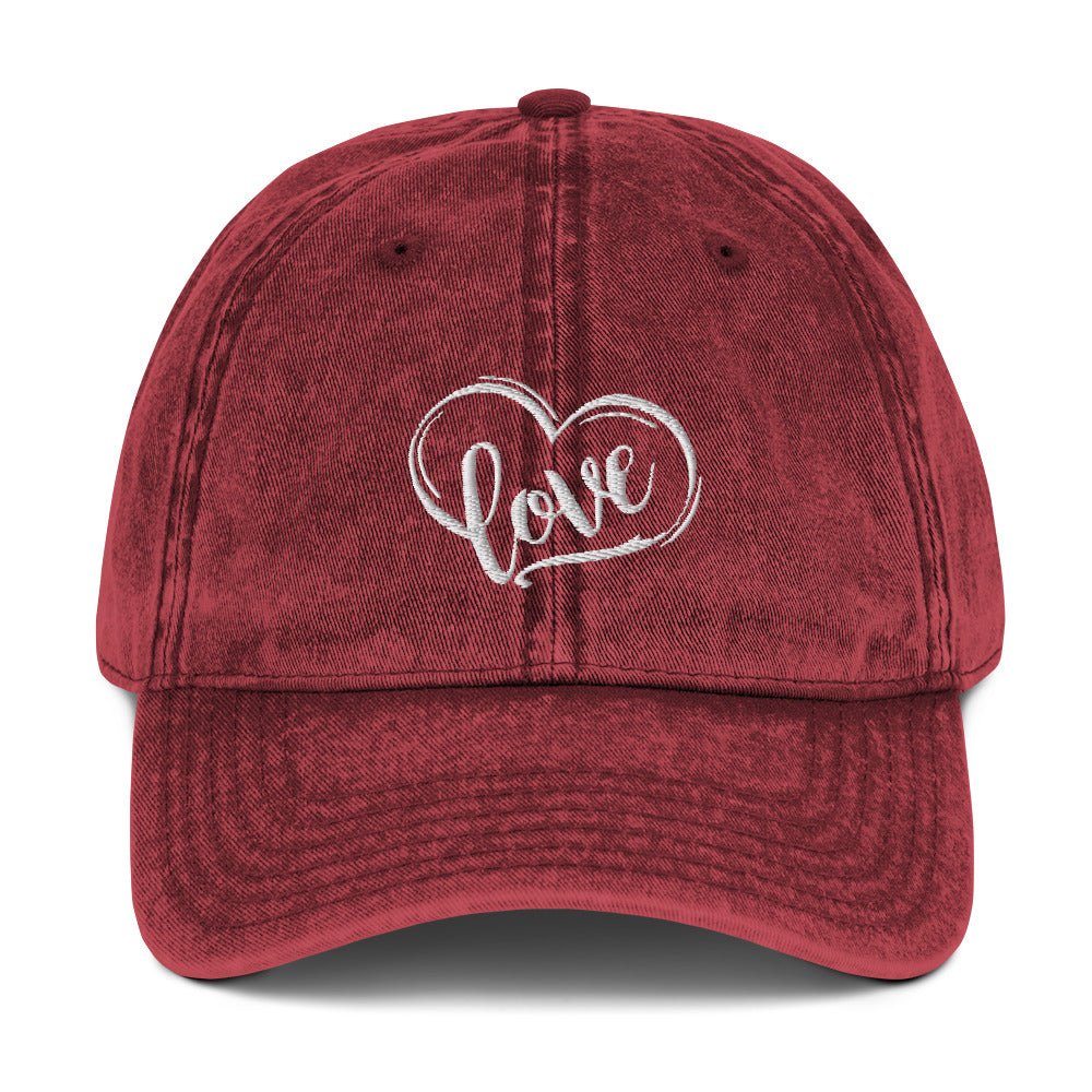 Love Heart Vintage Red Cotton Twill Cap